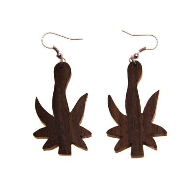 Earrings Ganja leaf