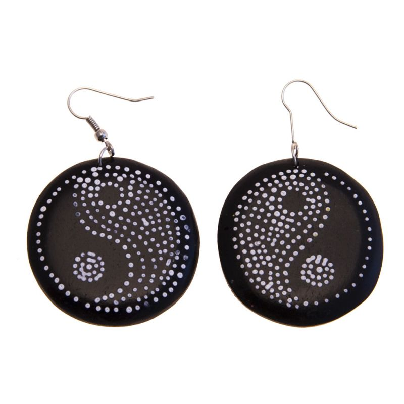 Earrings Yin&Yang - black