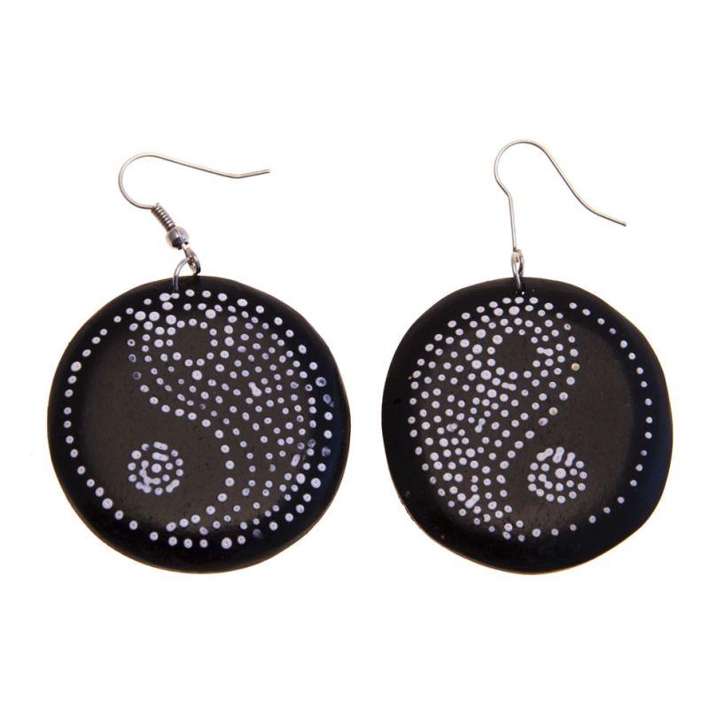 Earrings Yin&Yang - black