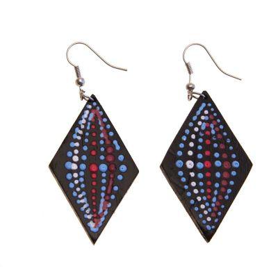 Earrings 3-D Rings in Rhombus
