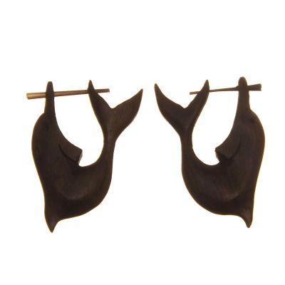 Wooden ethnic earrings Dolphin