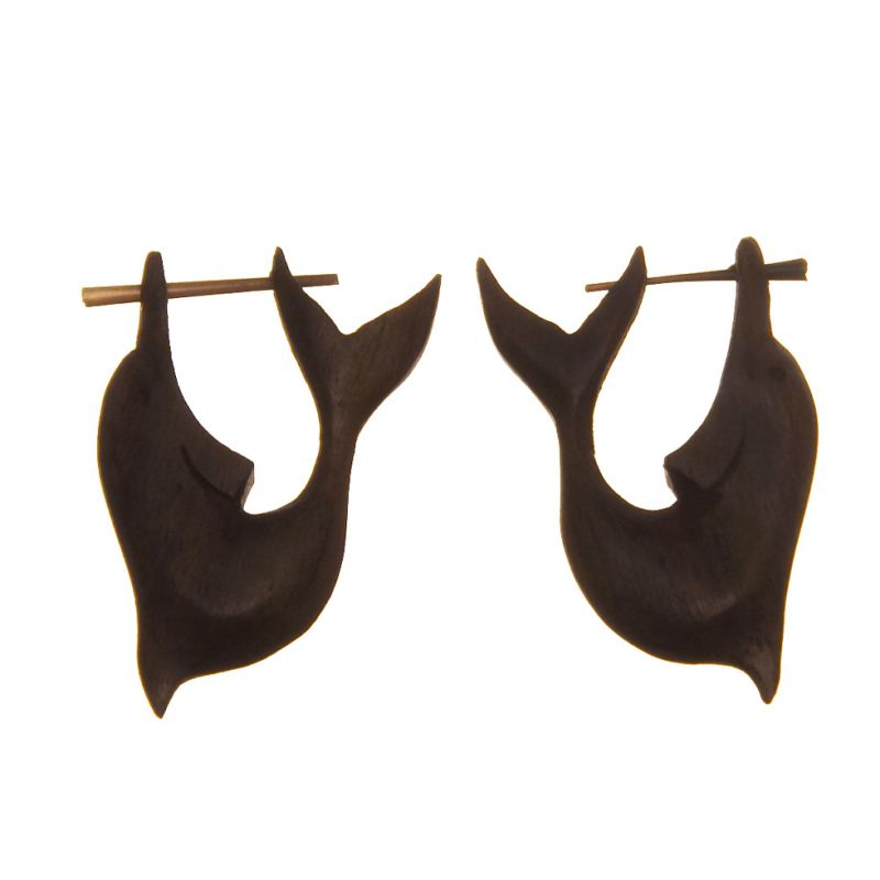 Wooden ethnic earrings Dolphin