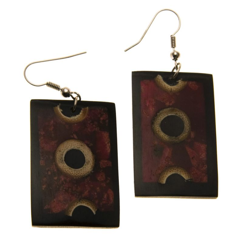 Earrings Circles in Red