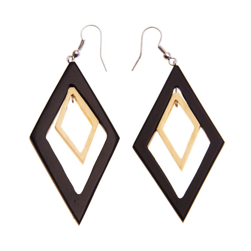 Earrings Wooden Diamonds