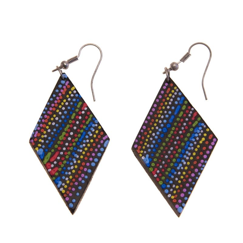 Earrings Rainbow Rhombus