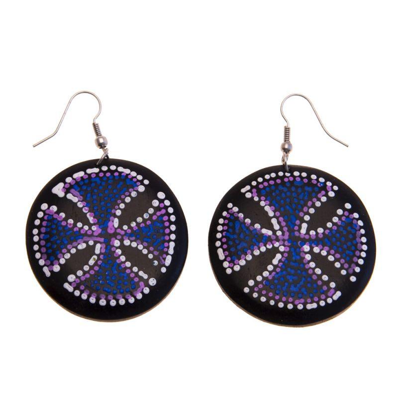 Earrings Blue Cross