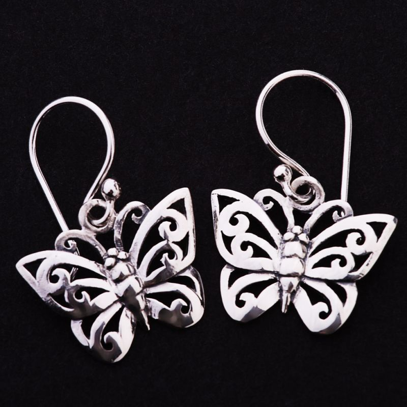 Silver Earrings - Butterfly
