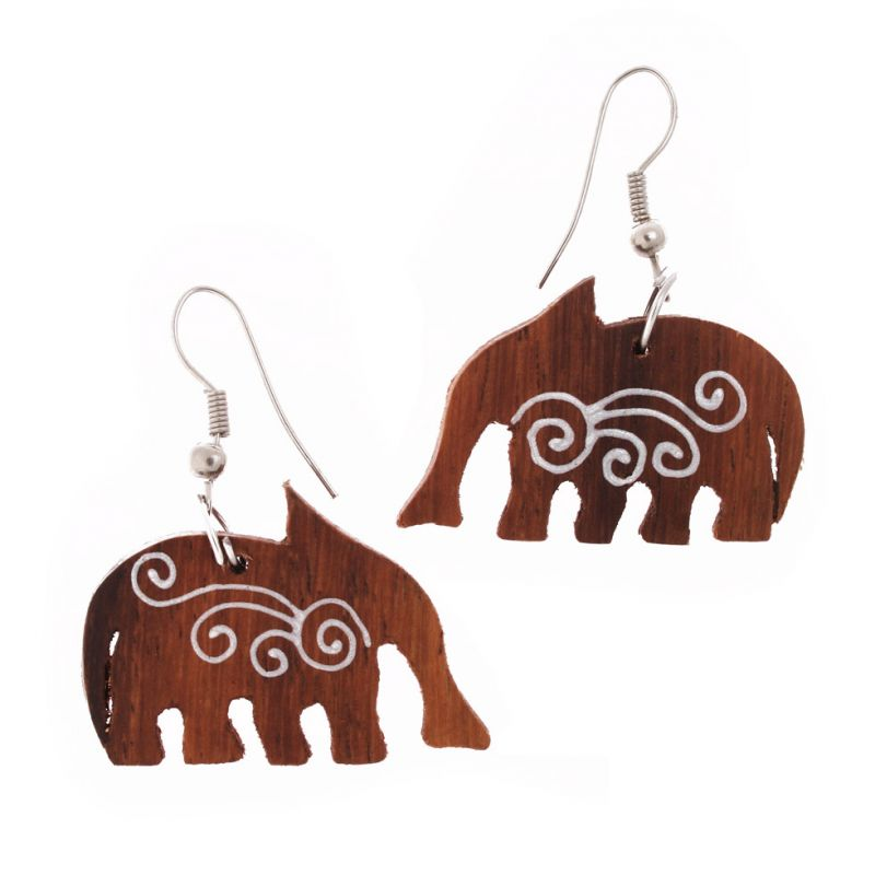Painted earrings Elephants