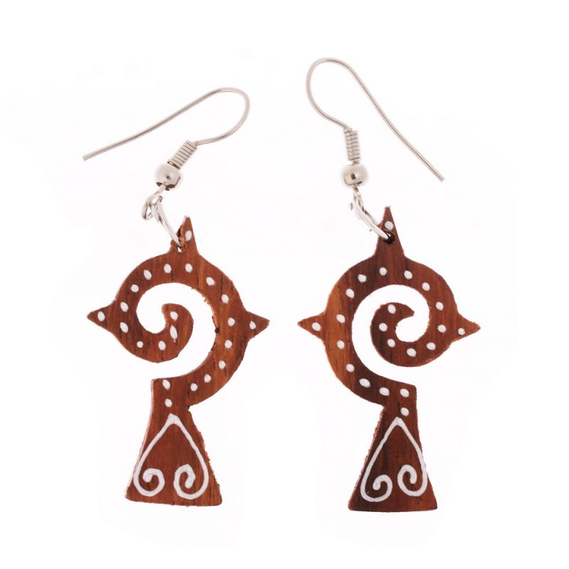Painted wooden earrings Lombok Cross