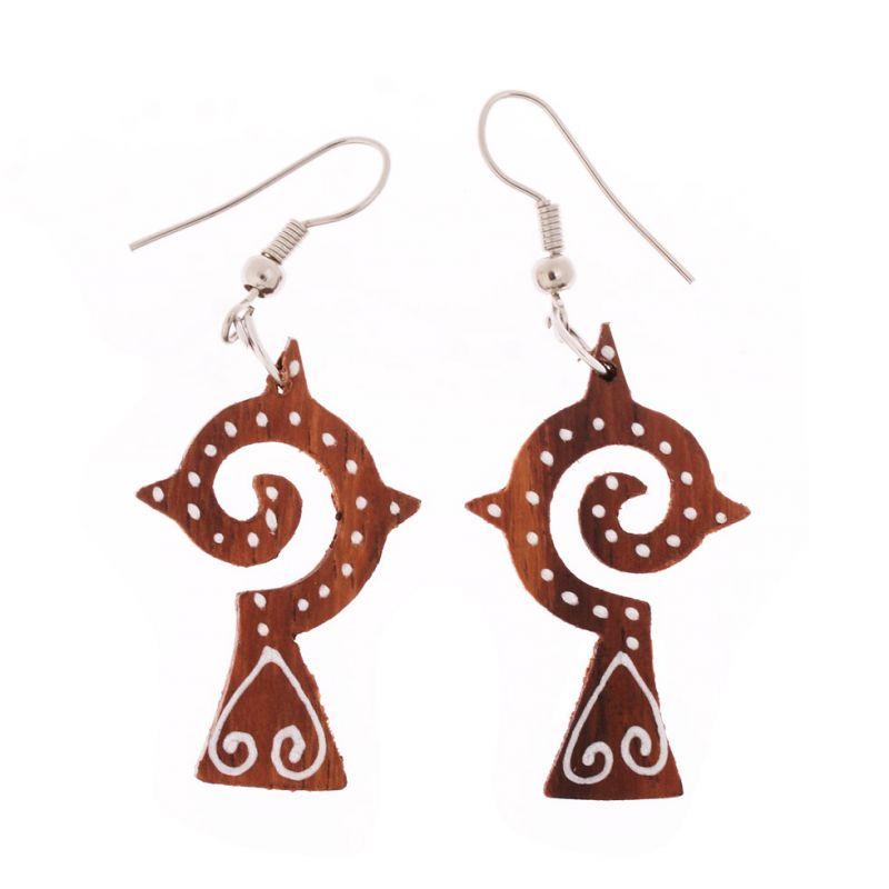 Painted wooden earrings Lombok Cross