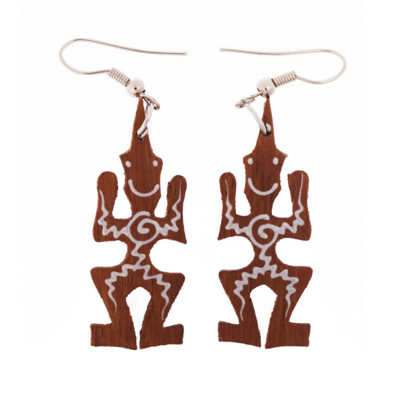 Pianted wooden earrings Happy Tribesmen