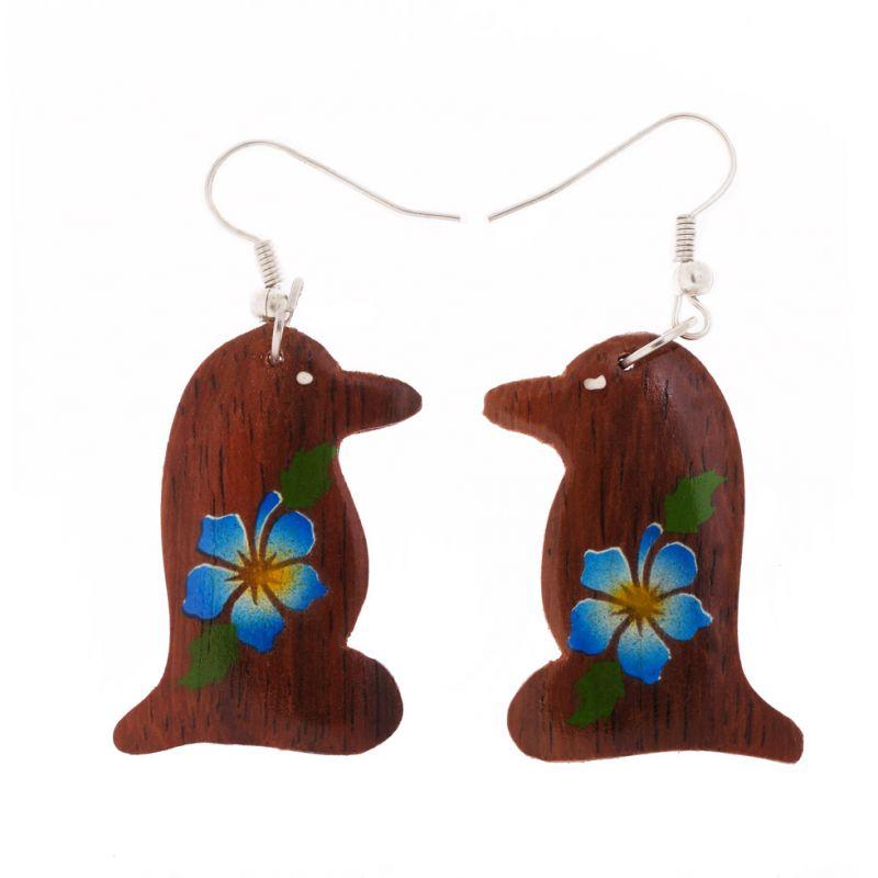 Painted wooden earrings Penguins