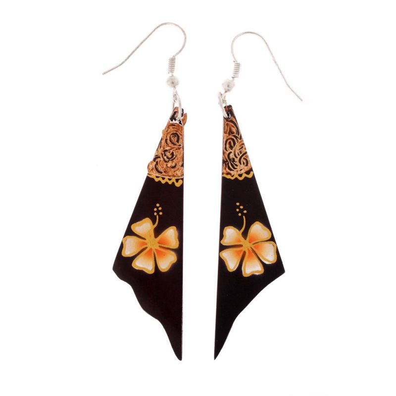 Painted wooden earrings Orange Flower Veil
