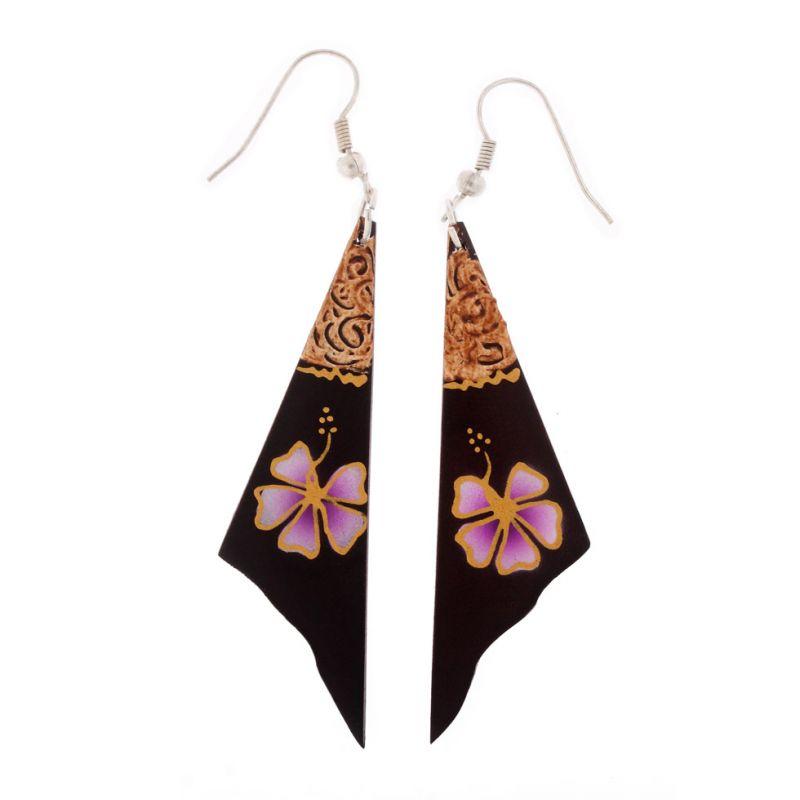 Hand-painted earrings Violet Flower Veil