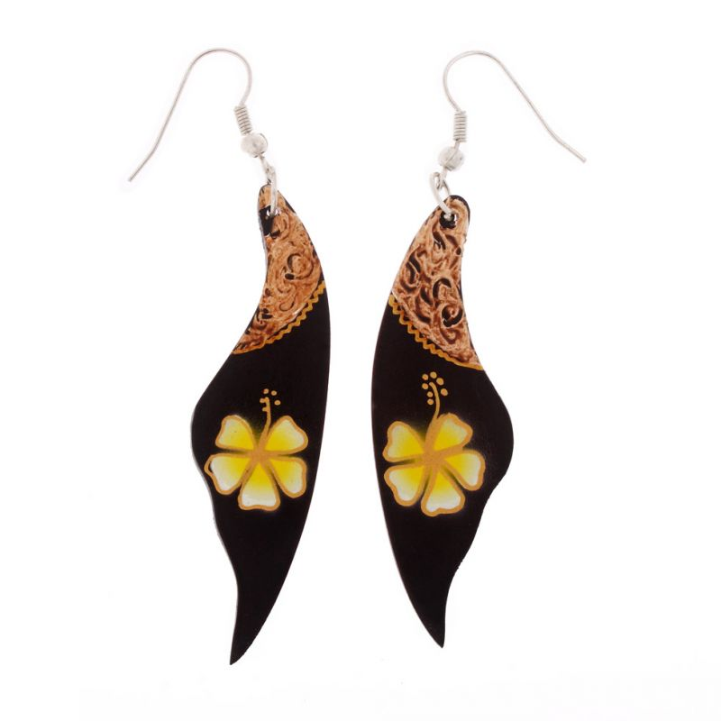 Hand-painted wooden earrings Yellow Flower Veil