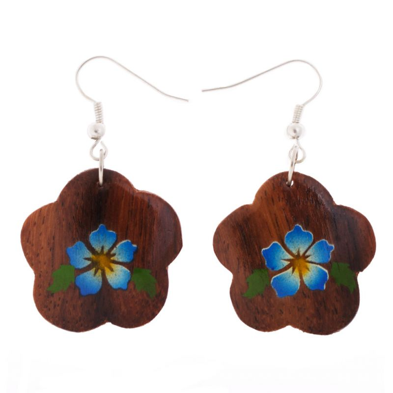 Painted wooden earrings Turquoise Flowers
