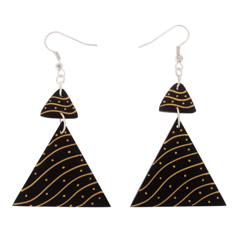 Painted wooden earrings Desert in Triangles