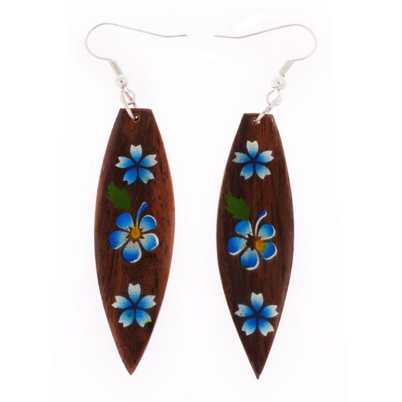 Painted wooden earrings Garden on the Surf