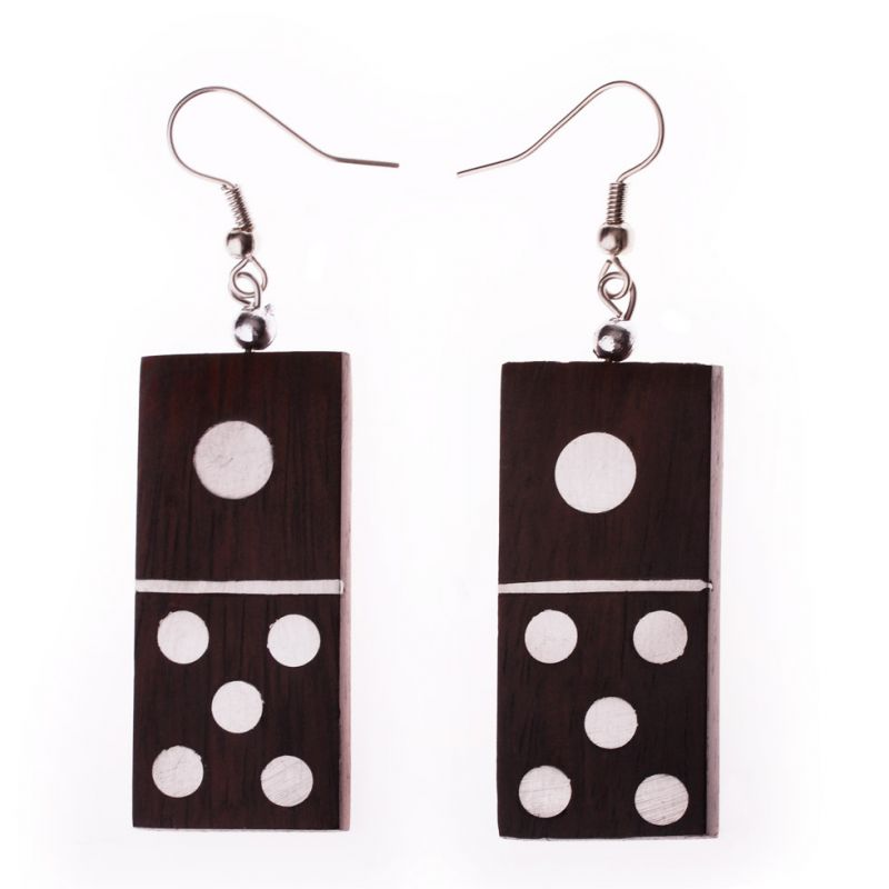 Surgical steel decorated wooden earrings Domino 1/5