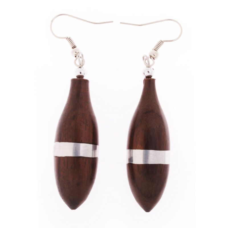 Steel decorated wooden earrings Saigon Raindrops Indonesia