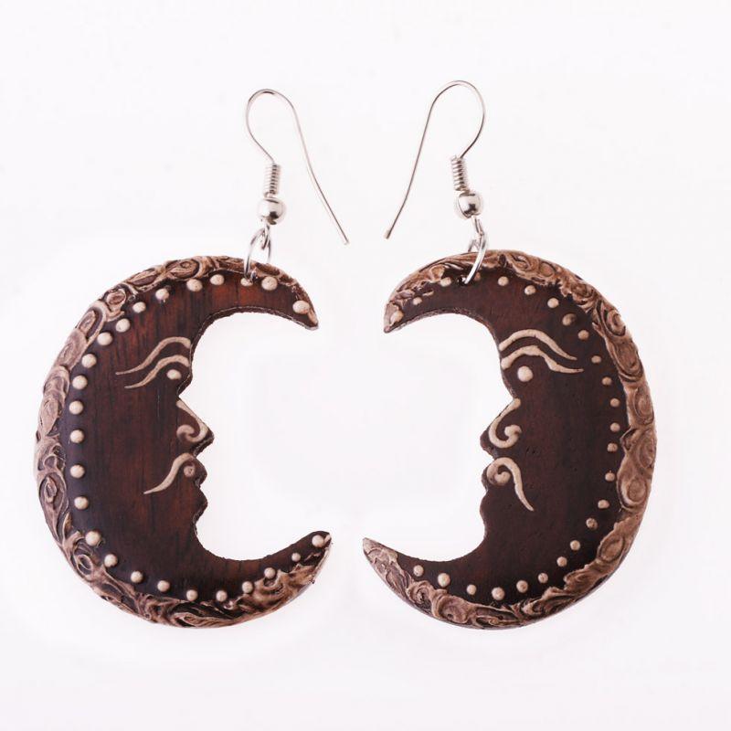 Painted wooden earrings Wise Moon