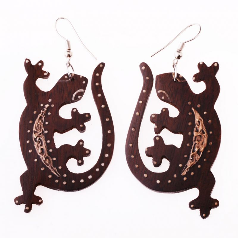 Painted wooden earrings Geckos On Lust