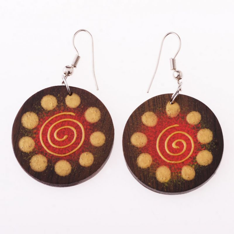 Painted wooden earrings Birth of the Universe
