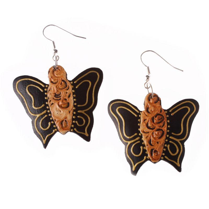Painted wooden earrings Butterflies