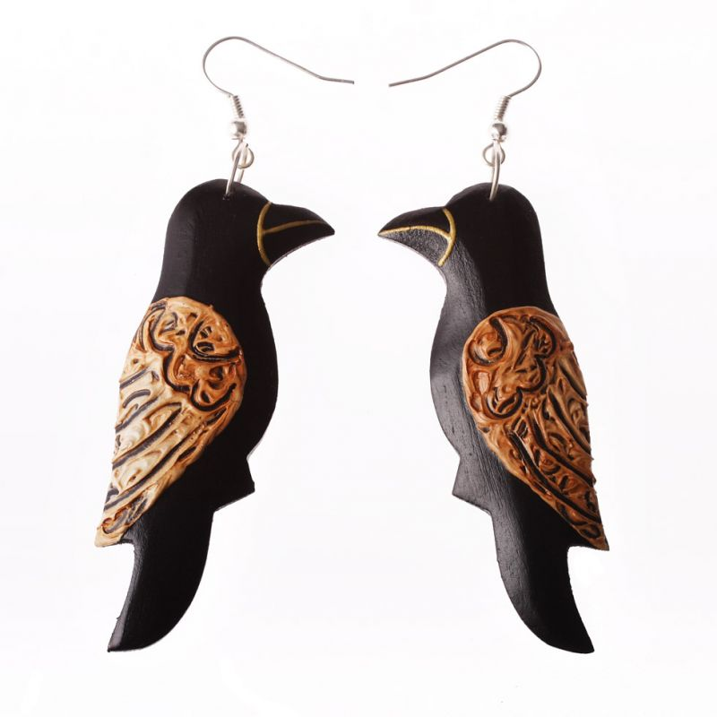 Painted wooden earrings Songbird