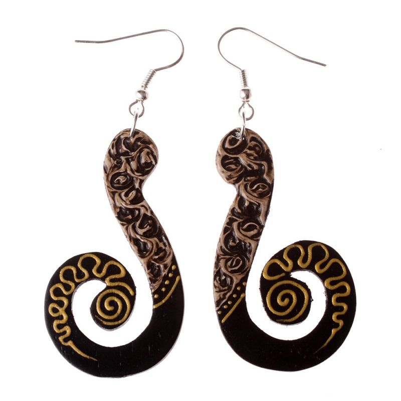 Painted wooden earrings Spiral Sceptre