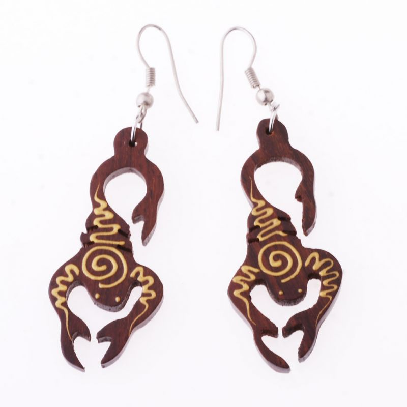 Painted wooden earrings Scorpions
