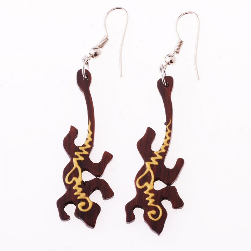 Painted wooden earrings Lizards