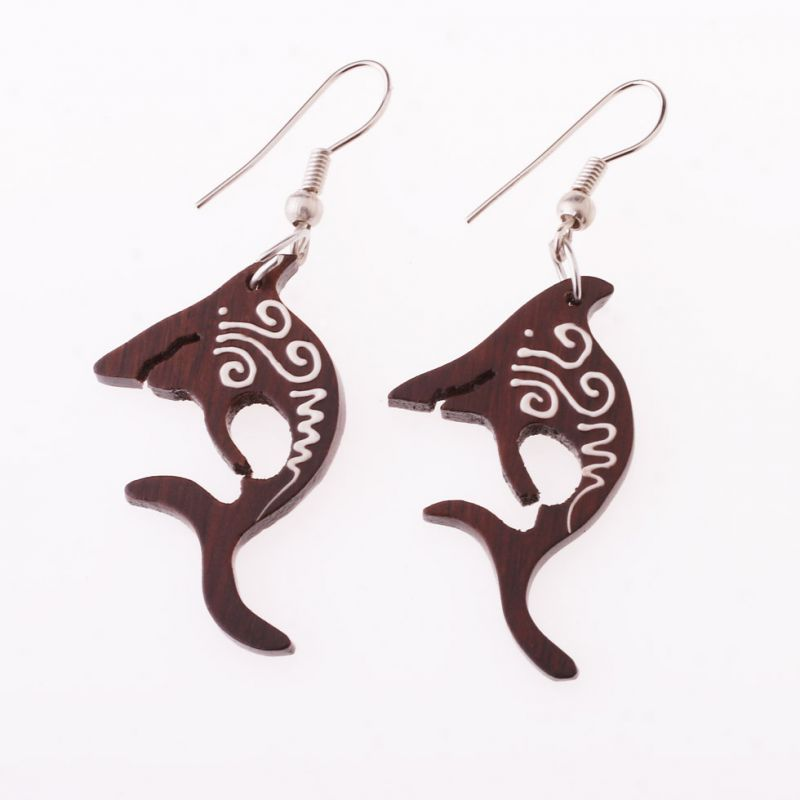 Painted wooden earrings Sharks