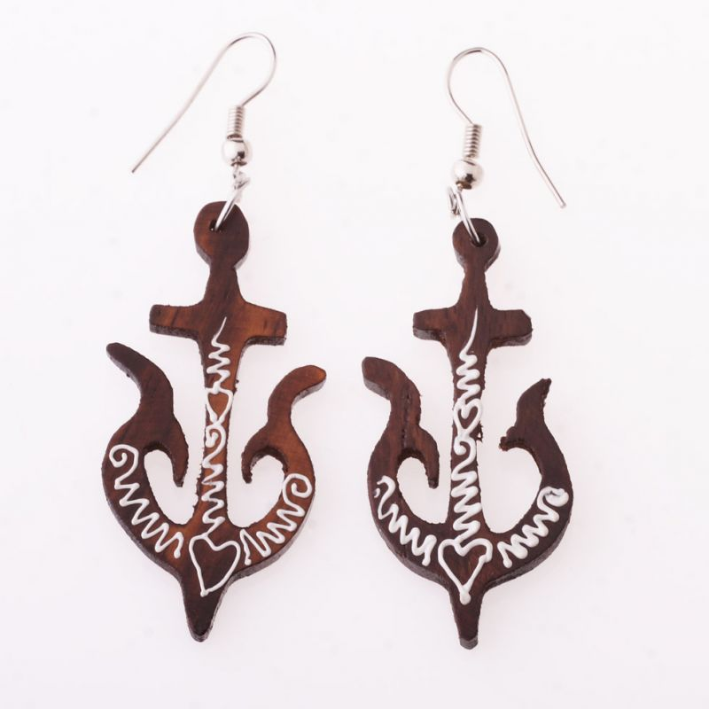 Painted wooden earrings Anchors