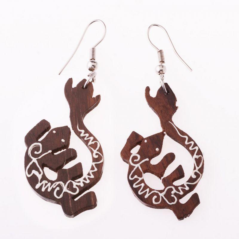 Painted wooden earrings Lizard Toke