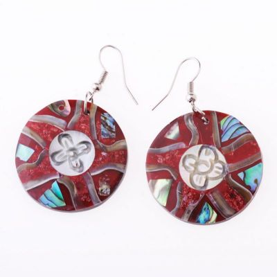 Shell earrings Flower of the Coral Reef