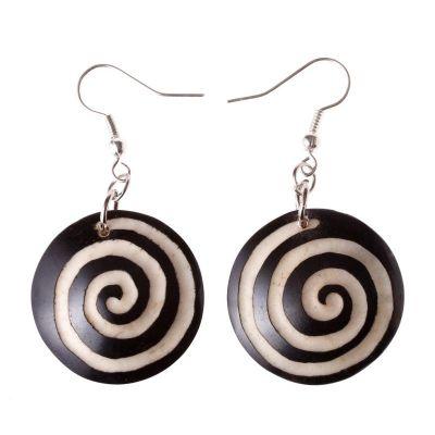 Earrings Black&White Spiral