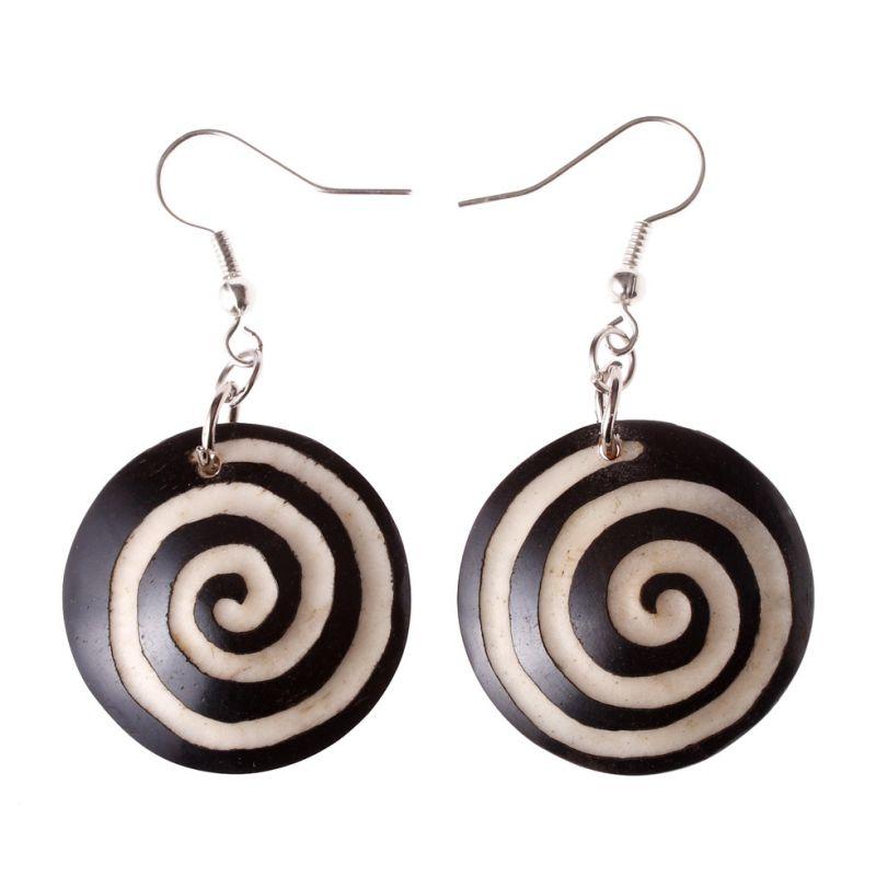 Burnt bone earrings Black&White Spiral