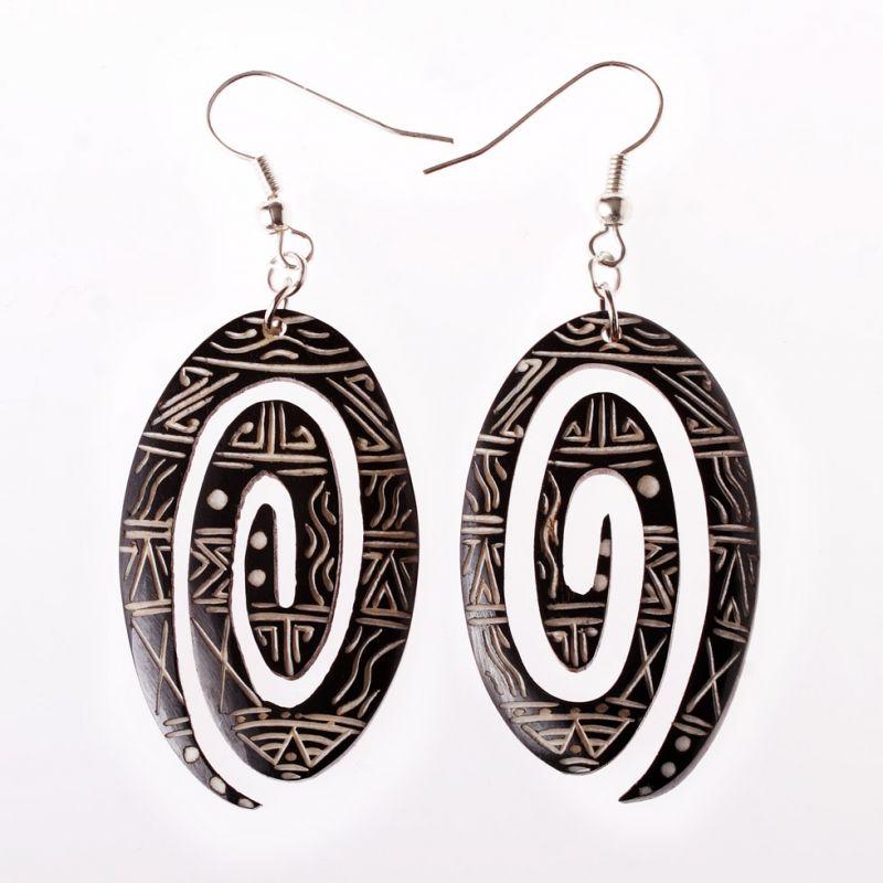 Burnt bone earrings Oval Infinity