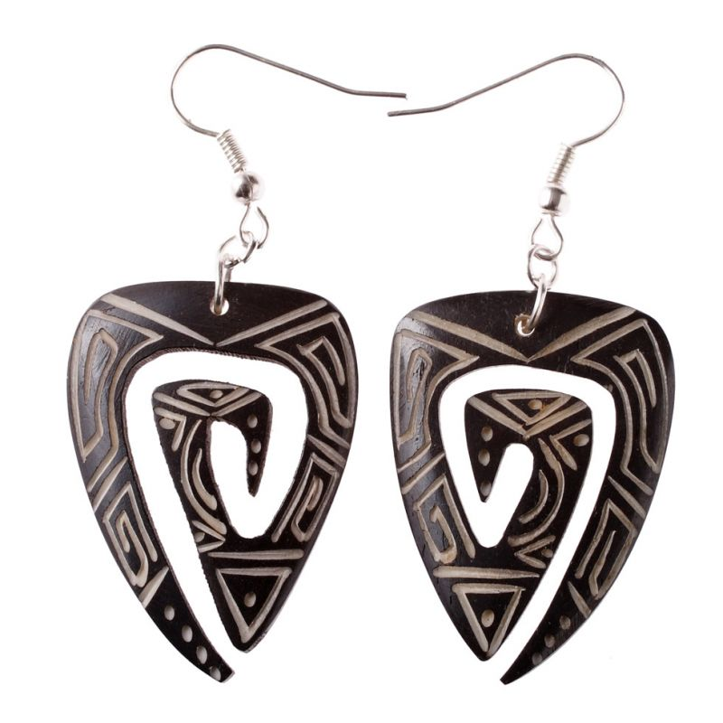 Burnt bone earrings Triangle of Mysteries