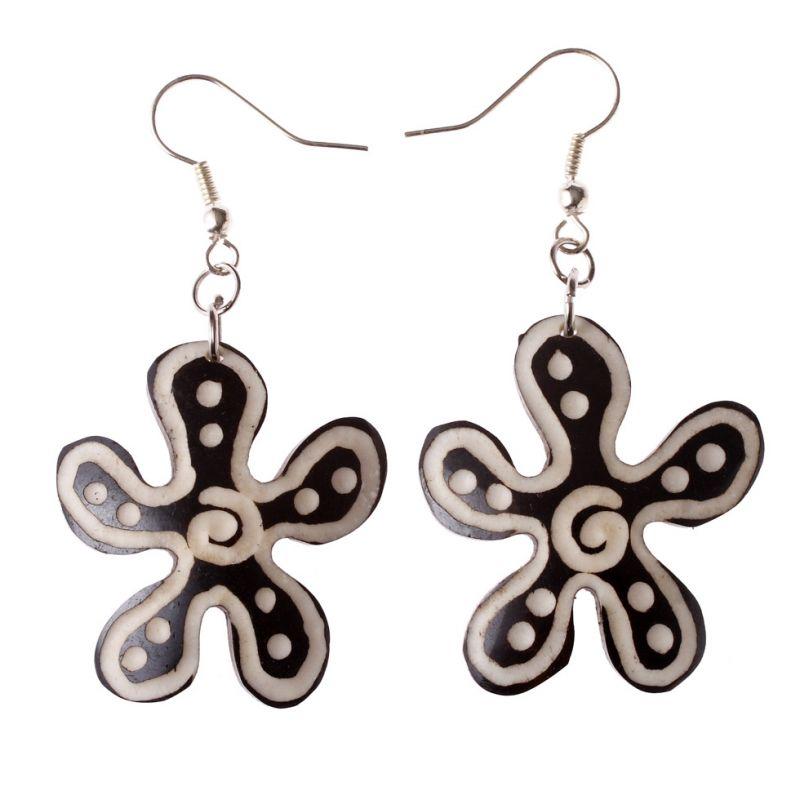 Burnt bone earrings Shaman's Flower