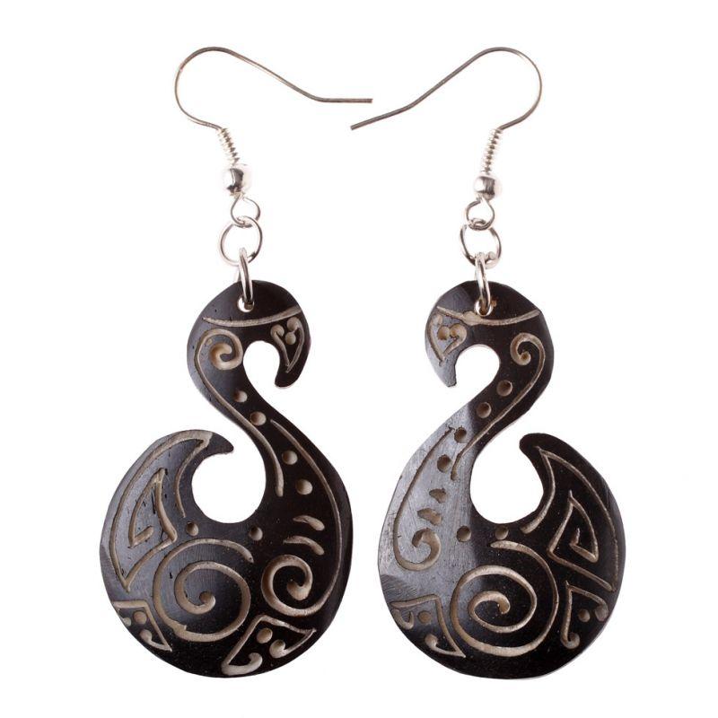 Burnt bone earrings Queen of the Spirals