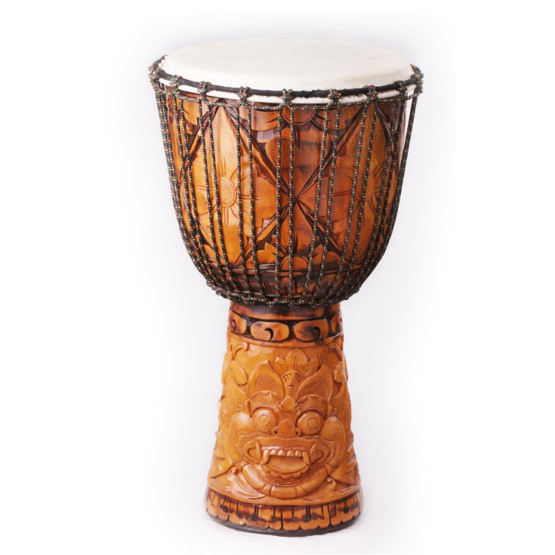 Djembe with carving of Barong