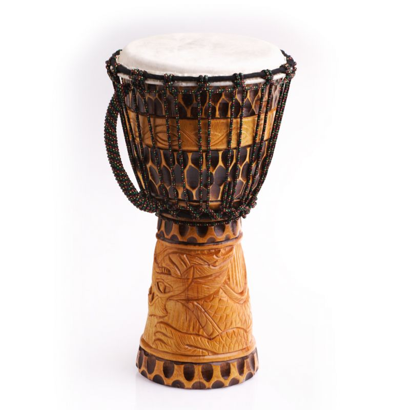 Djembe with dragon carving