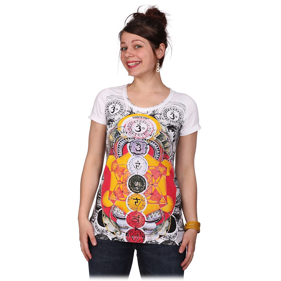 Women's t-shirt with short sleeves Mirror Chakras White