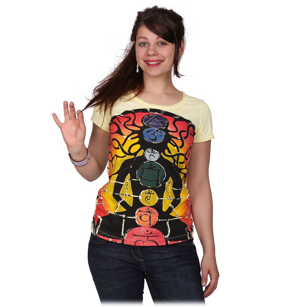 Women's t-shirt with short sleeves Mirror Meditation Yellow
