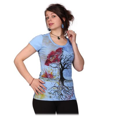 Women's t-shirt with short sleeves Mirror Tree by a Lake