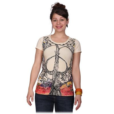 Women's t-shirt Tree of Peace Beige