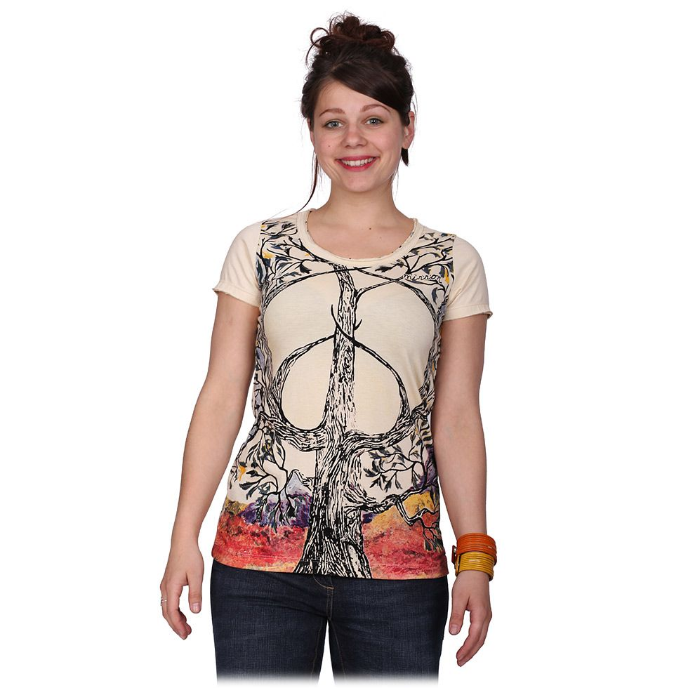 Women's t-shirt with short sleeves Mirror Tree of Peace Beige