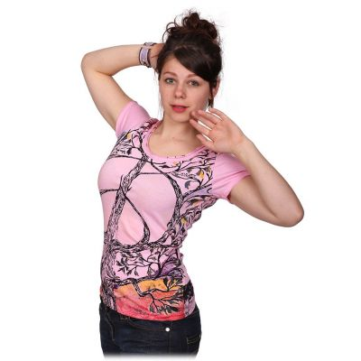 Women's t-shirt with short sleeves Mirror Tree of Peace Pink